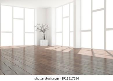 modern empty room with plants interior design. 3D illustration
