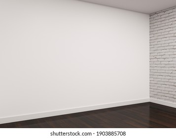 Modern empty room with a white wall, white brick wall and brown wood floor. Corner view. 3d rendering.
