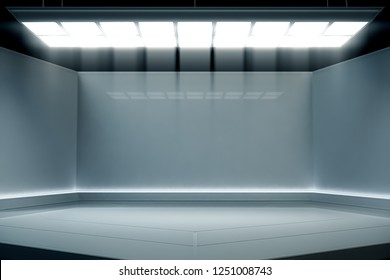 Modern empty stage event with light Futuristic background. Future technology Sci-fi hi tech concept. 3d rendering