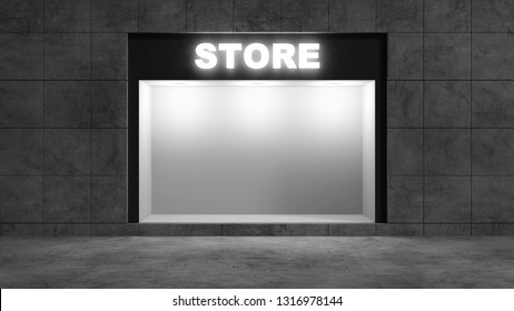 Modern Empty Store Front with Big Window at Night. 3D Rendering