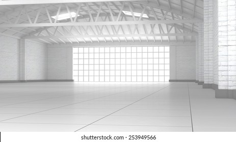 Modern empty storehouse with reflective concrete floor