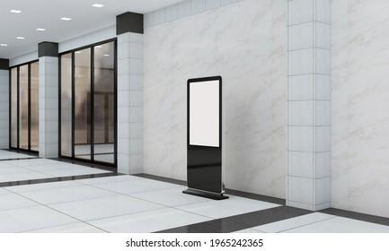A modern empty totem, kiosk, digital signage, 3d rendering
