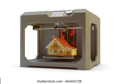 Modern engineering, prototyping, creating objects and printing technology concept, black plastic 3d printer machine making realistic house model, isolated on white, 3d illustration