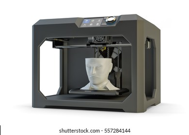 Modern engineering, prototyping, creating objects and printing technology concept, black plastic 3d printer machine making human head, isolated on white, 3d illustration