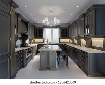 Modern English Classic Style Kitchen Interior Design with dark Furniture, bleak Facades and Marble Countertop. 3d rendering