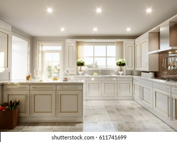 Modern English Classic Style Kitchen Interior Design with White Furniture, White Facades and Granite Countertop. 3d render