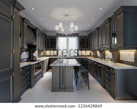 Modern English Classic Style Kitchen Interior Stock Illustration