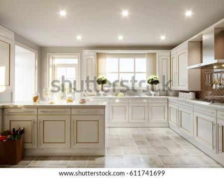 Modern English Classic Style Kitchen Interior Stock Illustration