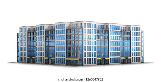 Modern European residential complex. Isolated on white background. 3d illustration