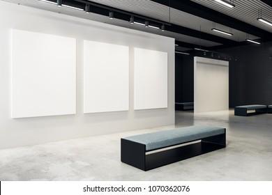 Modern exhibition hall with empty billboard and bench. Gallery, art, exhibit and museum concept. Mock up, 3D Rendering