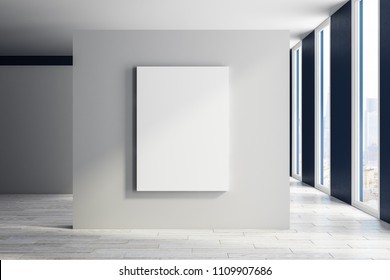 Modern exhibition hall interior with empty poster, city view and daylight. Mock up, 3D Rendering