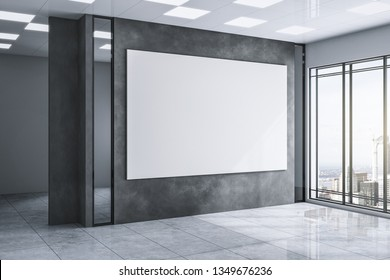 Modern exhibition hall interior with empty white banner on concrete wall, city view and daylight. Gallery concept. Mock up, 3D Rendering