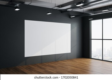 Modern exhibition hall room with empty banner on concrete wall, wooden floor and city view. Performance and presentation concept. 3D Rendering