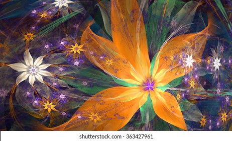 Modern exotic high resolution flower background with large wavy plastic flowers with natural looking 3D leaves and a field of smaller ones,all in glowing orange,green,pink,purple