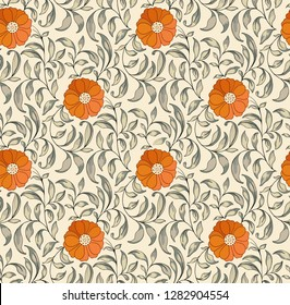 Modern fabric design pattern. Floral pattern for your design. Illustration. Modern seamless pattern for interior decoration, wrapping paper, graphic design, clothes and textile.  Background.