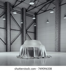 Modern factory loft hangar with photo studio and covered with cloth car. 3d rendering