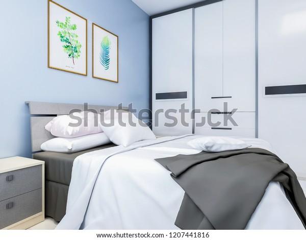 Modern Family Bedroom Design Light Blue Stock Illustration ...
