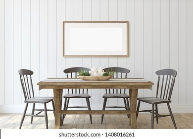 Modern farmhouse dining-room. Frame mockup. Wooden frame on the shiplap wall. 3d render.