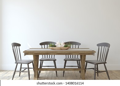 Modern farmhouse dining-room. Interior mockup. 3d render.