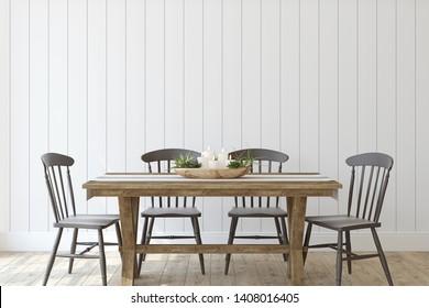 Moderno comedor de granja. Burla interior. 3d de representación.