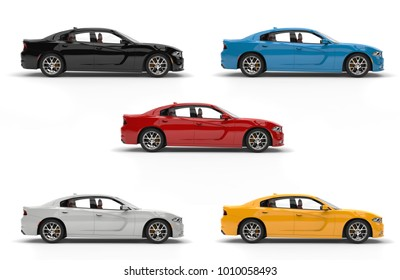Modern fast city cars in black, white, red, yellow and blue - 3D Illustration