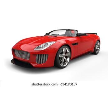 Modern fast raging red convertible super sports car - 3D Illustration