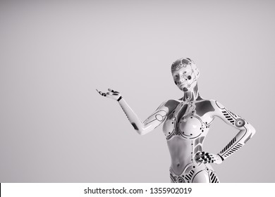 Modern female robot on white background. Technology, science and engineering. 3D render.