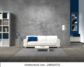 modern fictitious living room with white sofa and copy space for your own image.