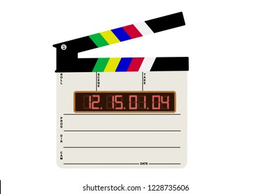 A modern film slate, with an electronic display on a white background, black subtitles and a table, and a black top with colorful stripes