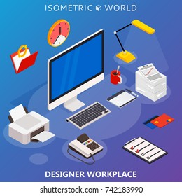 Modern flat 3d isometric concept of workplace with computer and office equipment.  infographics collection.