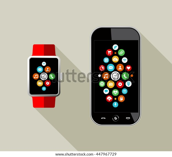 Modern flat art style illustration of smart watch and mobile phone with social app icons on screen.