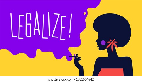 Modern flat character. Character of woman girl with cigarette. Woman smoking a cigarette on color bright background, legalize cannabis concept. Colorful contemporary art style. Illustration