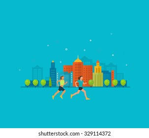 Modern flat icons of healthy lifestyle, fitness and physical activity. Healthy lifestyle concept.