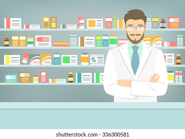 Modern flat illustration of a smiling young attractive male pharmacist at the counter in a pharmacy opposite of shelves with medicines. Health care conceptual background
