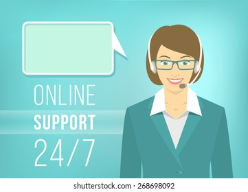 Modern flat illustration of young pretty girl, employee of call center support and help service with headphones and speech bubble for chat with visitors of web site. Help desk online concept.