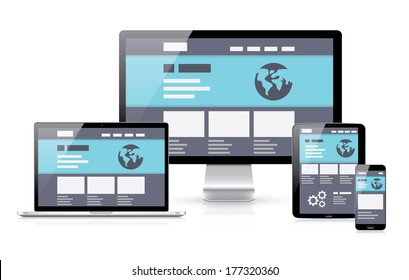 Modern flat & responsive illustration of computer coding in electronic devices laptop, tablet, computer and smartphone.