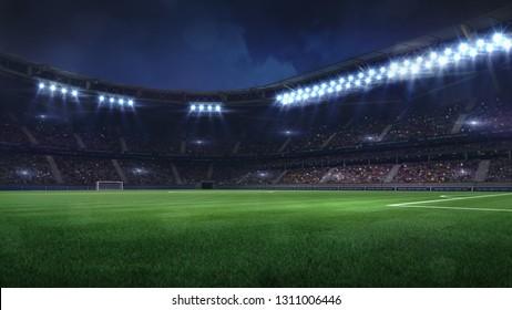modern football stadium illuminated by floodlights and empty green grass, football stadium sport theme digital 3D background advertisement illustration my own design
