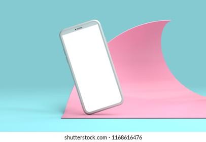 Moderno smartphone senza cornice modello di schermo vuoto. mockup alla moda astratto alla moda. 3D Rendering