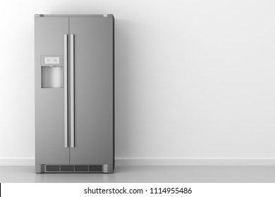 modern fridge in front of white wall. 3d illustration