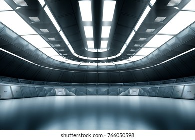 Modern Future background technology Sci-fi interior concept. 3d rendering
