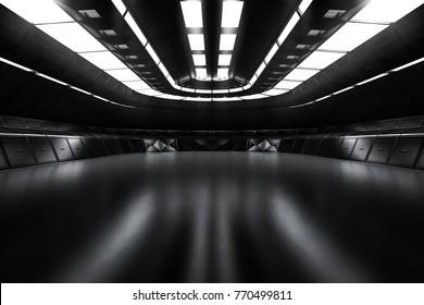 Modern Future dark background technology Sci-fi interior concept. 3d rendering