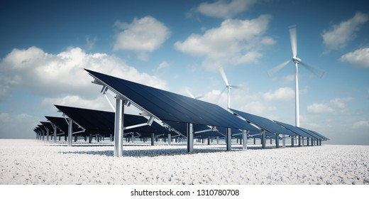 Modern and futuristic aesthetic black solar panels of large photovoltaic power station with wind turbines in background in nice sunny afternoon weather with partial cloudy blue sky. 3d rendering.