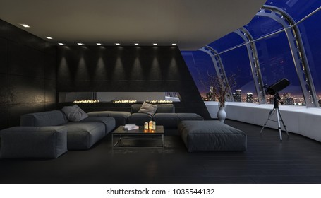 The modern, futuristic, dark living room of a penthouse, dimly lit by candles opens to expansive views of the night sky and city. 3d Rendering