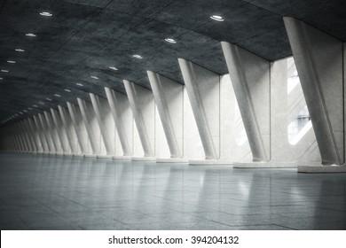 Modern futuristic empty abstract interior. Photo realistic 3d model scene.