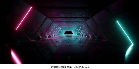 Modern Futuristic Empty Sci-Fi Night Scene Retro Alienship Triangle Shaped Corridor With Purple And Blue Glowing Neon Lights With Hexagonal Floor 3D Rendering Illustration