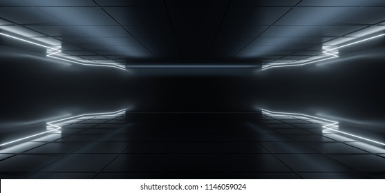Modern Futuristic  Hi-Tech Dark Room With Neon Glowing Light Tubes With White Color And Empty Space In Middle 3D Rendering Illustration