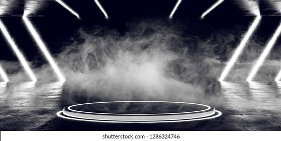 Modern Futuristic  Led Lighted Circle Stage Podium In Dark Smoke Fog Room With  Led Laser Stripped Glowing Lights On Grunge Reflective Concrete 3D Rendering Illustration