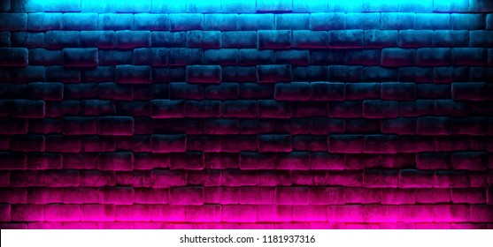 Modern Futuristic Neon Club Purple And Blue Lighted Empty Space Old Grunge Stone Bricked Detailed Wall In Room Wallpaper Background 3D Rendering Illustration
