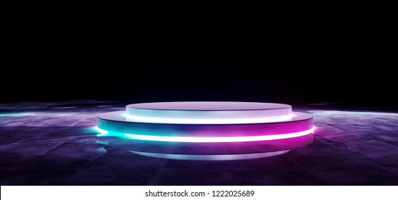 Modern Futuristic Sci Fi Alien White Purple And Blue Glowing Lights Empty Stage On Black Background In Dark Grunge Concrete Wet Reflection Room Concept Background 3D Rendering Illustration