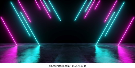 Modern Futuristic Sci-FI Refelctive Grunge Wet Concrete Dark Empty Room With Neon Glowing Purple And Blue Tube Lights Club Background 3D Rendering Illustration